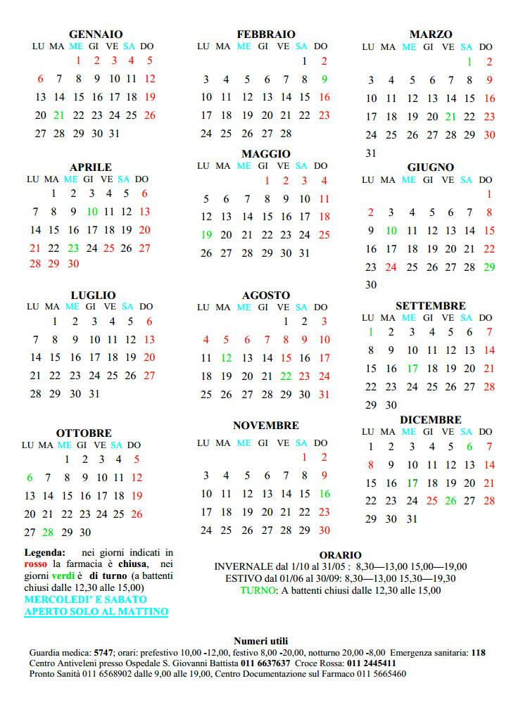 Calendario Solo Numeri.Calendario Farmacia Bernardi